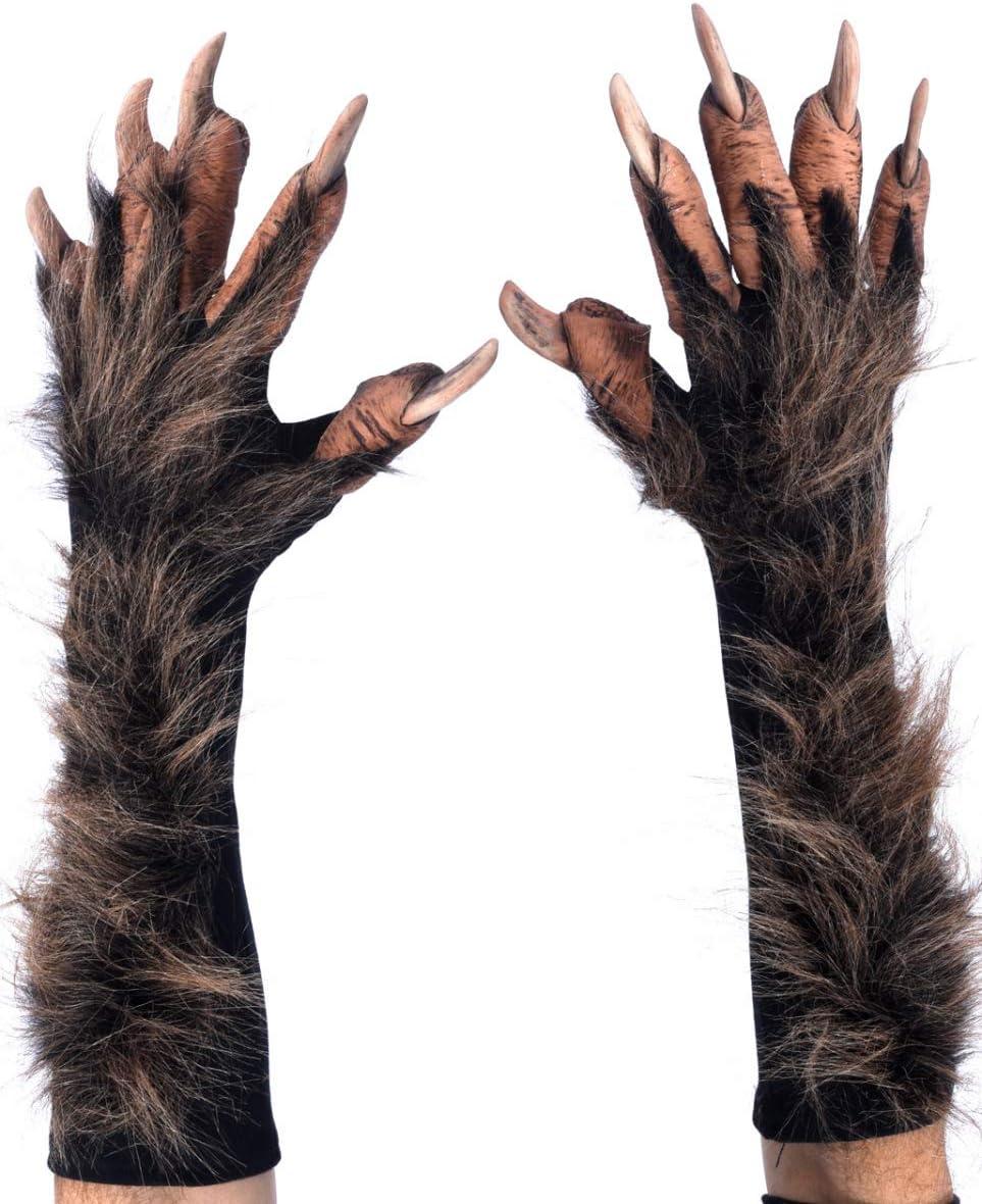 Pelzig Werwolf Wolf Man Hands Handschuhe Haarig Halloween Horror Zubehör IL2151