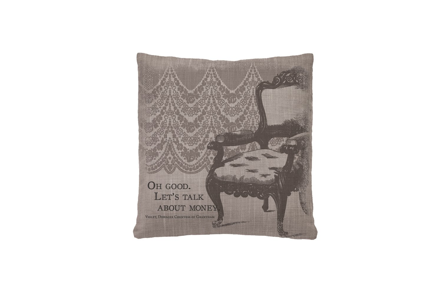 (Money) - Heritage Lace Downton Abbey Iconic Talk About Money Pillow, 46cm by 46cm, Grey お金(Money)  B00J7ZYQOU