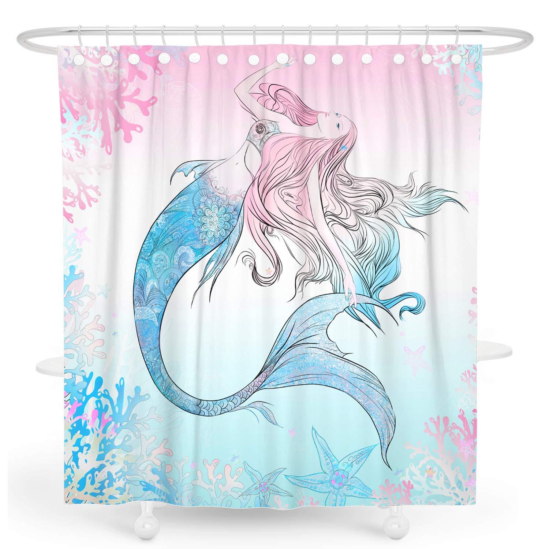 DESIHOM Mermaid Shower Curtain Ocean Shower Curtain Pink Girls Shower Curtain Spring
