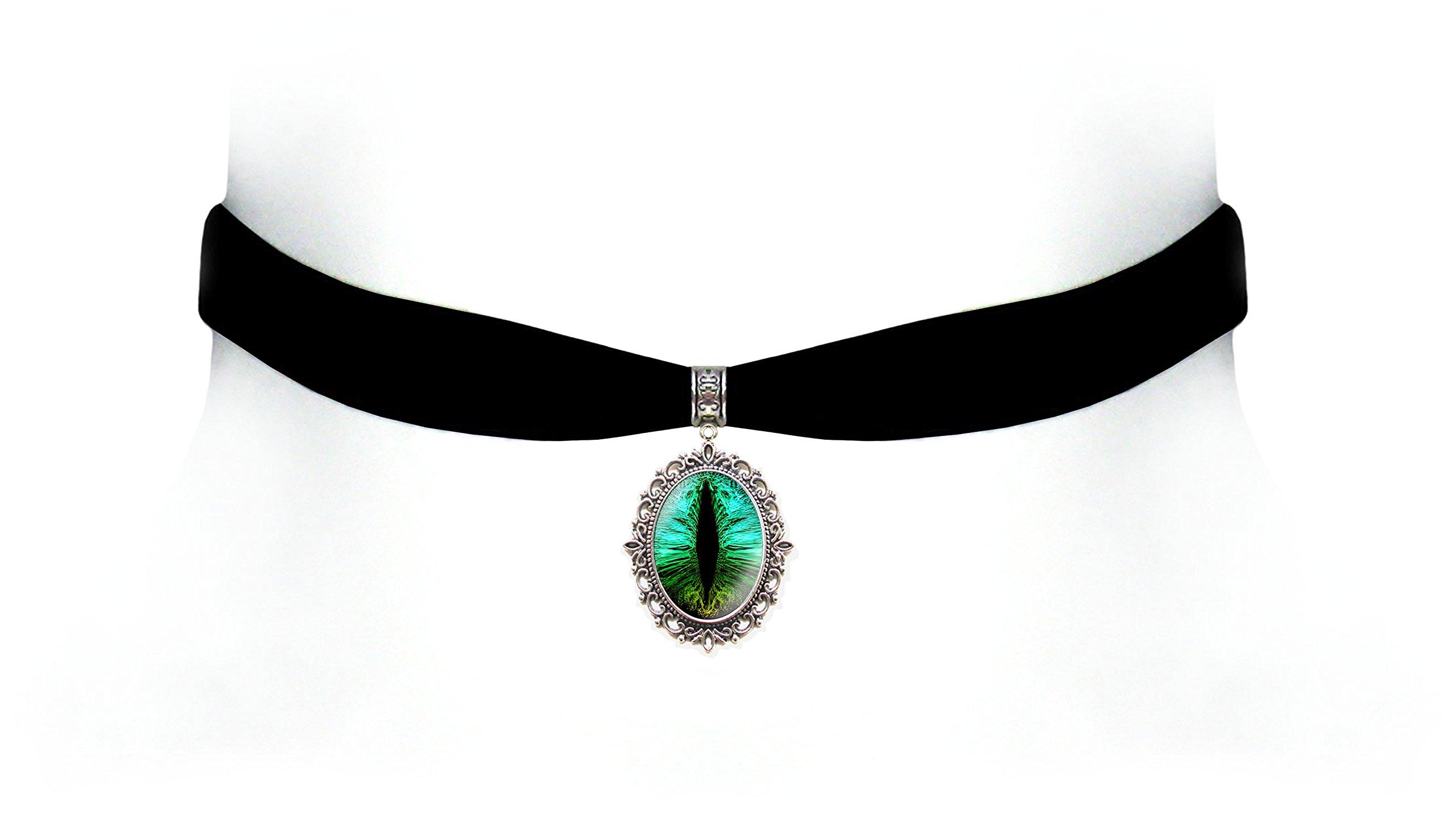Victorian Vault Black Velvet Dragon Eye Choker Steampunk Gothic Pendant Necklace (Green Rainbow)