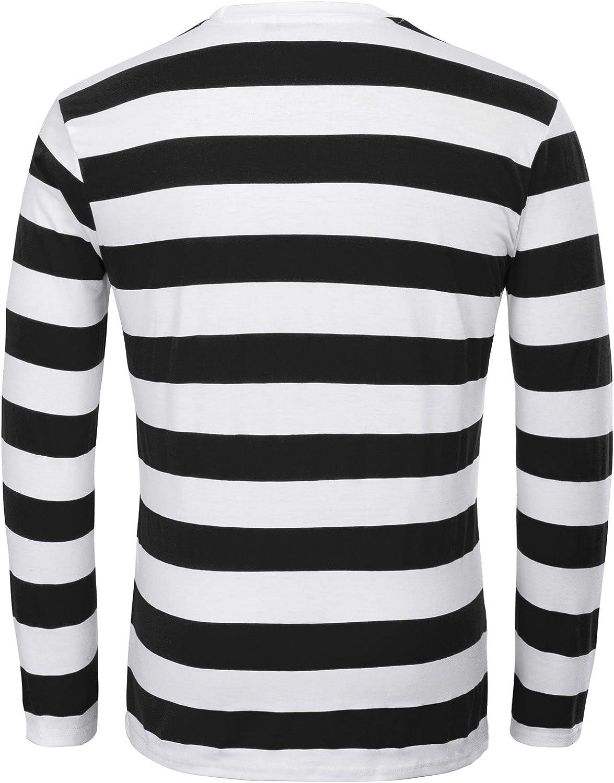 PaulJones Camiseta Casual de Cuello Redondo a Rayas de Moda para Hombre