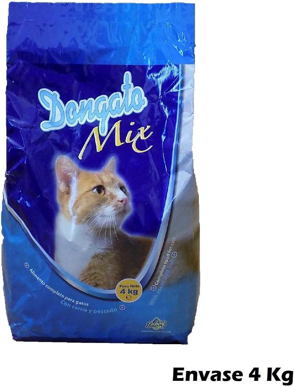 DONGATOMIX Saco de pienso 4 Kg Comida para Gatos con Carne y ...