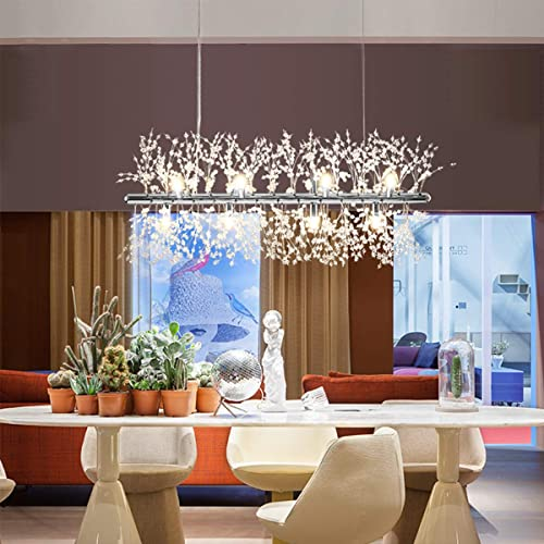Ganeed Firework Chandeliers,Modern LED Crystal Pendant Lights,9-Light Stainless Steel Chandelier Lighting,Hanging Ceiling Light Fixture