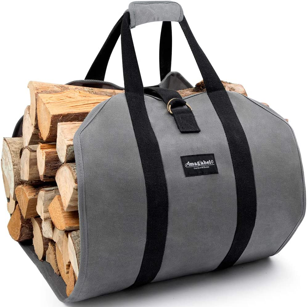 Amagabeli Fireplace Carrier Waxed Canvas Fire Place Sturdy Wood Carring Bag with Handles Security Strap for Camping Indoor Firewood Logs Tote Log Holder Birchwood Stand Gray