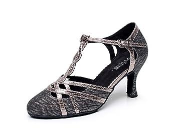 JSHOE Frauen T-strap Glitter Tango Salsa Hochzeit Latin Dance Schuhe Geschlossen-Zehe Mid Heel PumpGrey-heeled7.5cm-UK7...