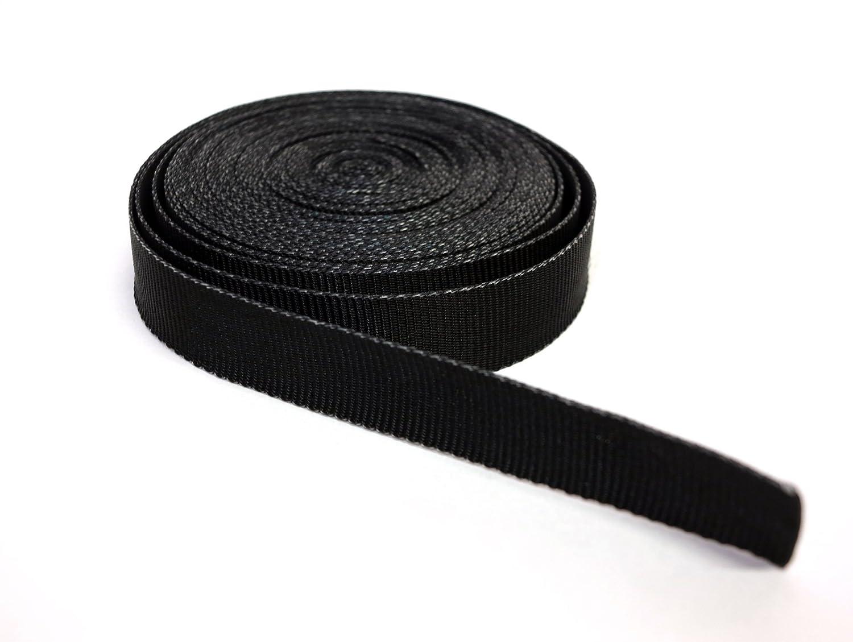 Band Nylon Gurt für Helme, Taschen, Rucksäcke, Mode und Zubehör Schwarz von verschiedenen Längen (2 m, 5 m, 10 m, 20 m, 30 m, 40 m, 50 m)    h cm 2,5 - Dicke 0,8 mm