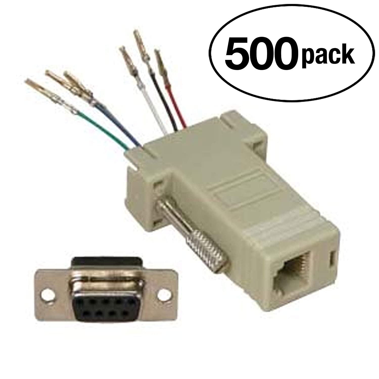 amazon com installerparts db9 female to rj11 12 (6 wire) modularamazon com installerparts db9 female to rj11 12 (6 wire) modular adapter ivory gold plated electronics
