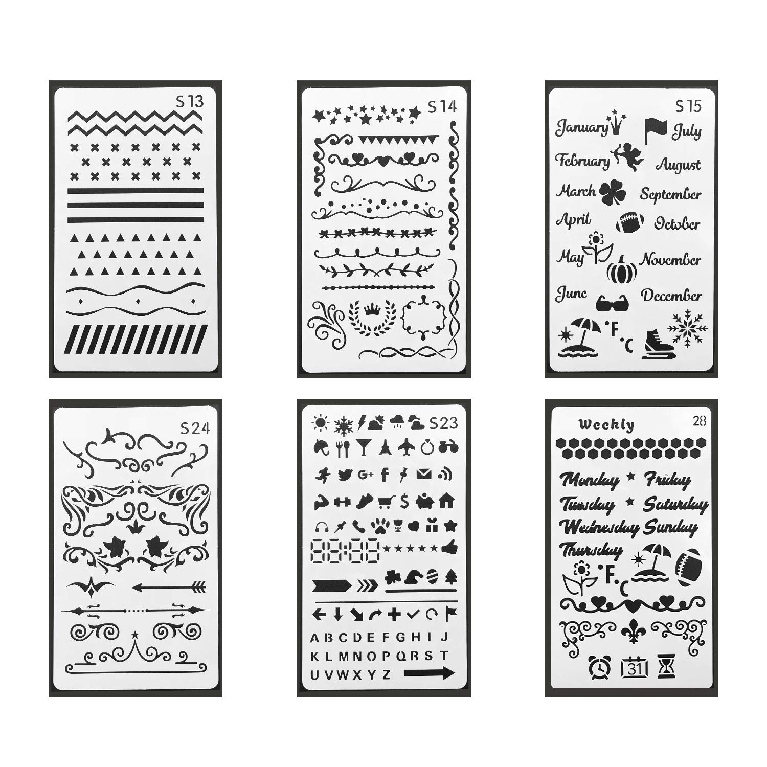 36PCS A5 Bullet Journal Stencils And 10 Colored Planner Pens Plastic Template For Notebook Diary
