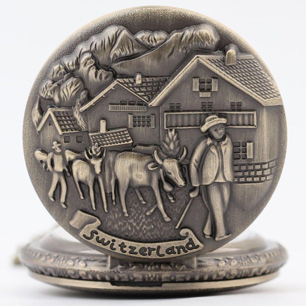 Shirleyle Vintage Bronze Quartz Pocket Watch With Chain Christmas Wedding Gift For Women Men by Shirleyle (Image #2)