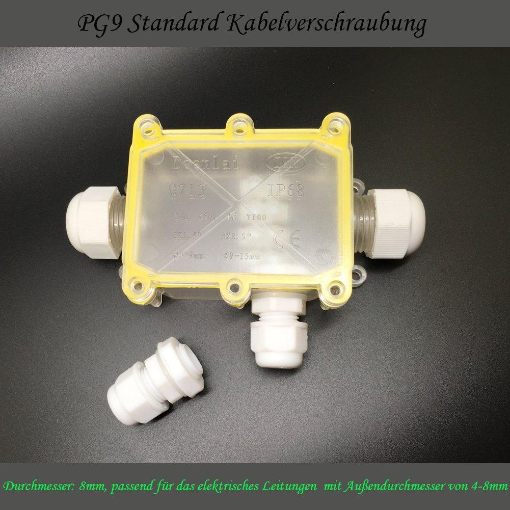 6-Wege 80*55*36mm IP68 Wasserdicht Abzweigdose Komme mit 3 Satz ...