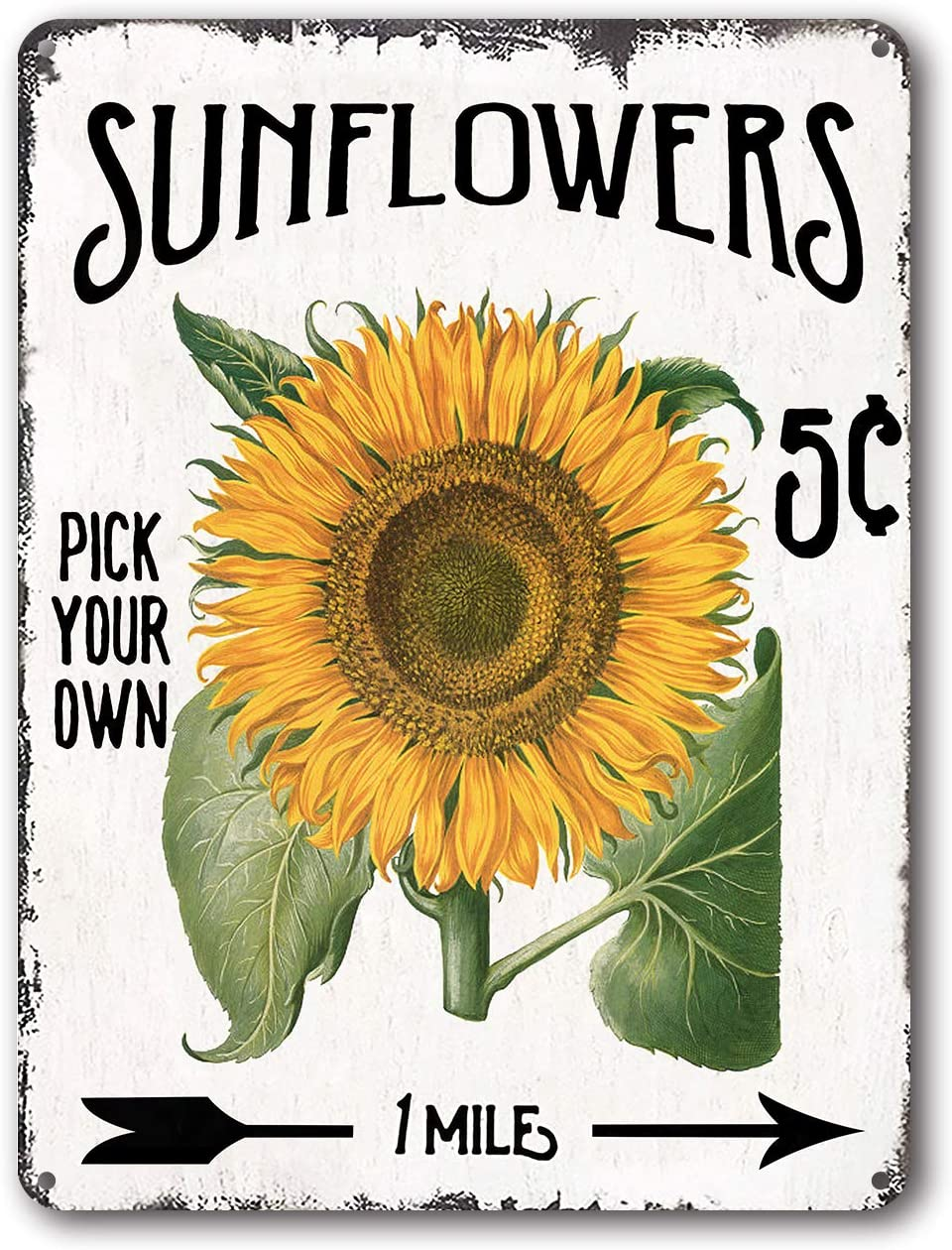 Goutoports Vintage Sunflower Tin Signs Green Oil Painting Farmhouse Home Wall Decor Metal Signs 7.9x11.8 Inch