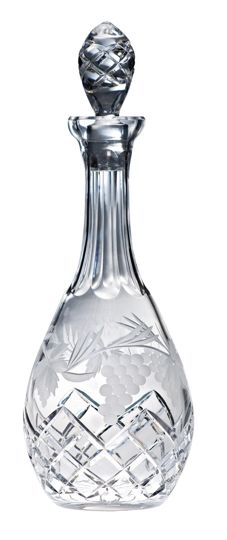Majestic Gifts 36-Ounce Hand Cut Crystal Decanter, Large, Clear, Grape Design