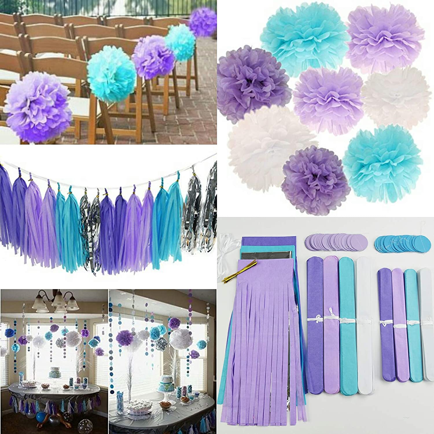 Mermaid Baby Shower Decorations Aqua Blue Teal Purple Tissue Paper Fan Summer Party