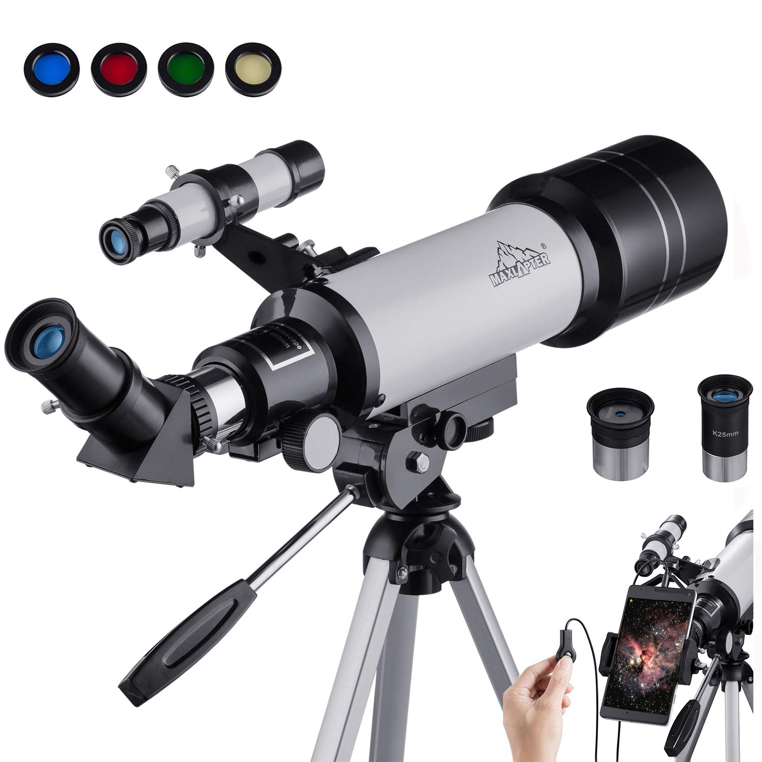 MAXLAPTER Refractive Astronomy Telescope, HD High Magnification, Dual-Use, Suitable for Adults or Children Beginners, Portable, Equipped with Tripod, Smartphone Adapter WR852-1