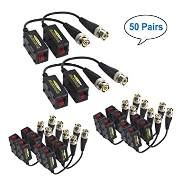 20Pairs Passive HD BNC Video Balun Transceiver Transmitter AHD//TVI//CVI//CVBS Cabl