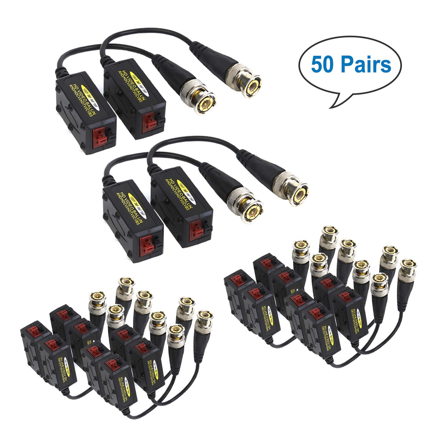 COOLM 50Pairs(100pcs) Passive HD-CVI/TVI/AHD Video Balun Connectors 720P/1080P/3MP/4MP/5MP Passive Transmitter/Transceivers for CCTV Security Camera Systems