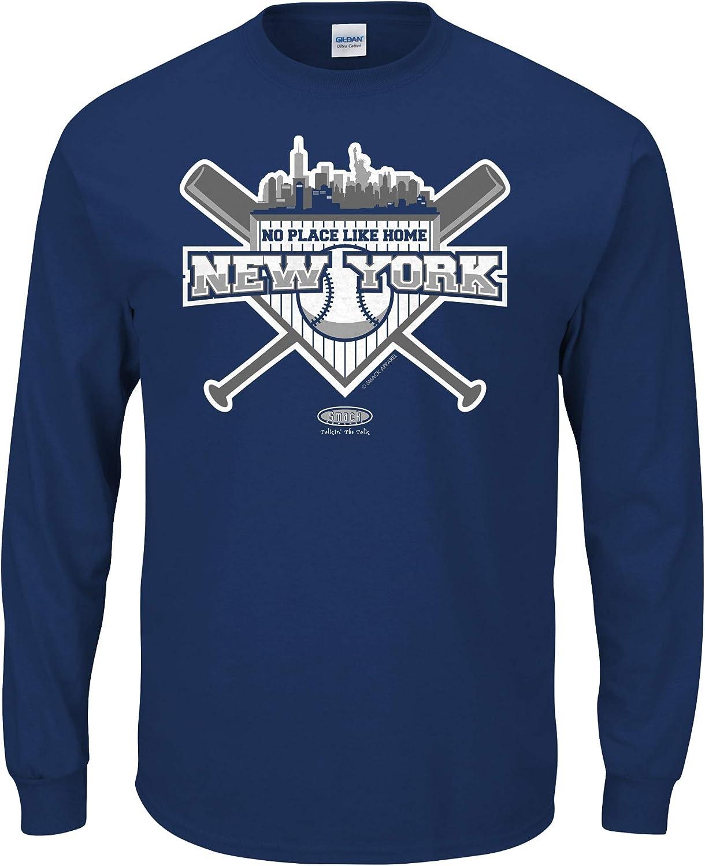 Smack Apparel New York Baseball Fans. No Place Like Home Navy T-Shirt (Sm-5X)