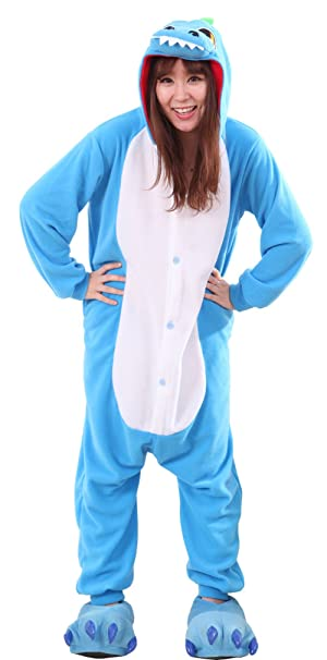 Honeystore Unisex New Dinosaur Animal Cosplay Costume Onesies Pajamas  Halloween Blue S b62f53124