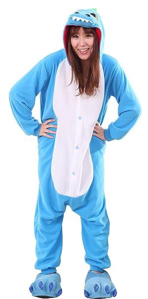Honeystore Unisex New Dinosaur Animal Cosplay Costume Onesies Pajamas  Halloween Blue S b62f53124