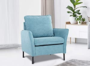 Accent Fabric Chair, Modern Upholstered Arm Chair Single Sofa Couch for Living Room, Club, Bedroom(Blue)