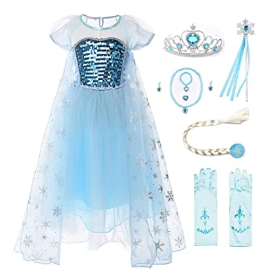 JerrisApparel Girl Princess Costume Sequin Mesh Party Dress with Sleeve: Clothing