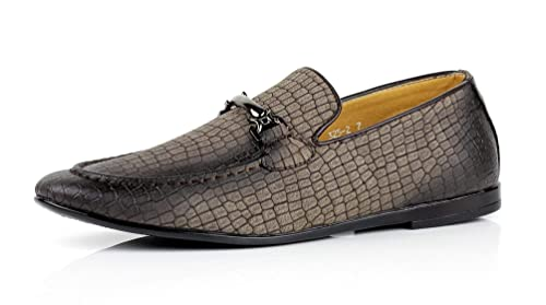 Jas Hombre Modelo Serpiente Elegante Zapatos sin Cierres Italiano Moderno Vestido Formal Mocasines - Café,