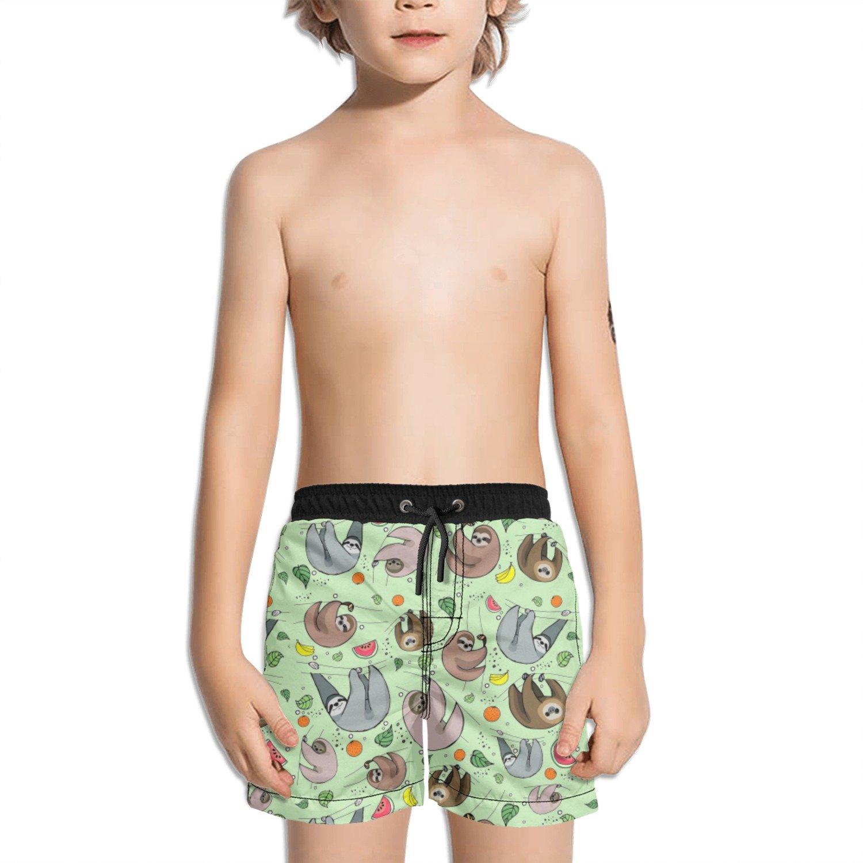 Juliuse Marthar Happy Sloth Eating Fruit Fashion Swimming Trunks Short Quick Dry Summer Short for Children