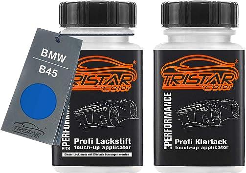 Tristarcolor Autolack Lackstift Set Für Bmw B45 Estorilblau Ii Metallic Estoril Blue Metallic Basislack Klarlack Je 50ml Auto