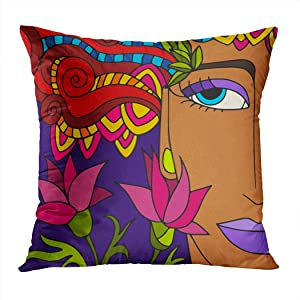 Qryipd Throw Pillow Cover Colorful Abstract Viso Di Donna Pattern Home Decor Living Room Bedroom Office Polyester Pillowcase