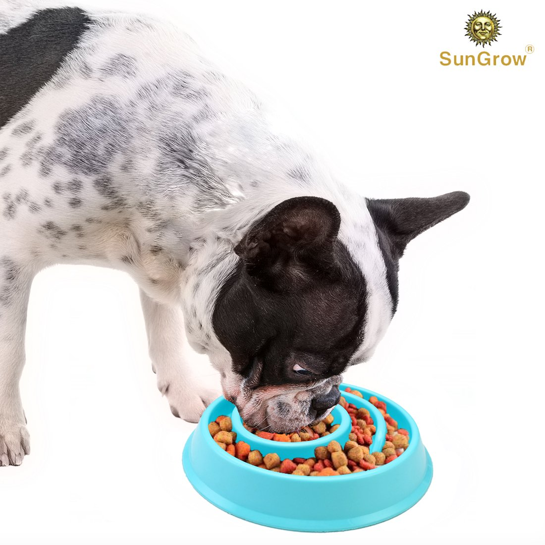 Slow Dog Feed Bowl by SunGrow -- Prevents canine obesity - Free from BPA, PVC and phthalate toxic materials - Promotes fun, interactive, slow eating - Light blue color curbs appetite, boosts health
