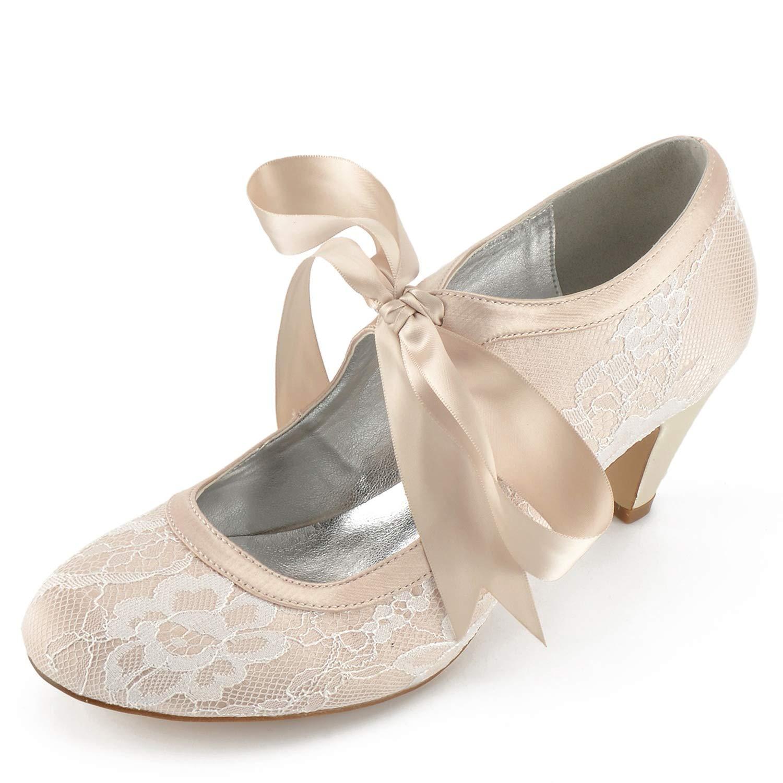 Elobaby Zapatos De Boda De Las Mujeres FD564 Silk Spring Kitten SatéN De TacóN Alto Cerrado Toe Evening Round / 6.5cm Heel 41 EU