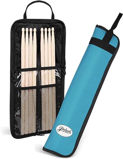 Flexzion Bolsa para baquetas de tela impermeable, Funda para 4 pares de baquetas con gancho, correa ajustable, asa y tarjetero, Accesorios de percusión para bateristas y niños (Turquesa): Amazon.es: Instrumentos musicales