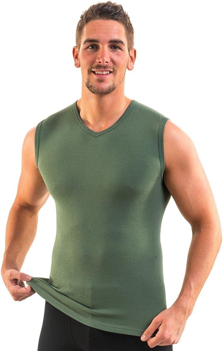 attillate confezione di 3 magliette senza maniche da uomo con scollo a V vari colori HERMKO 3050/