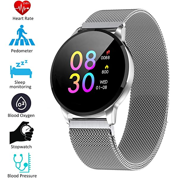 CWL W8 Smartwatch Fitness Tracker Watch IP67 Round Smart Watch con ...
