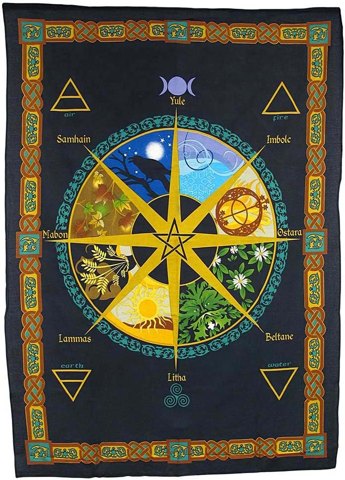Things2Die4 Pagan Calendar Natural Cycle Cotton Tapestry