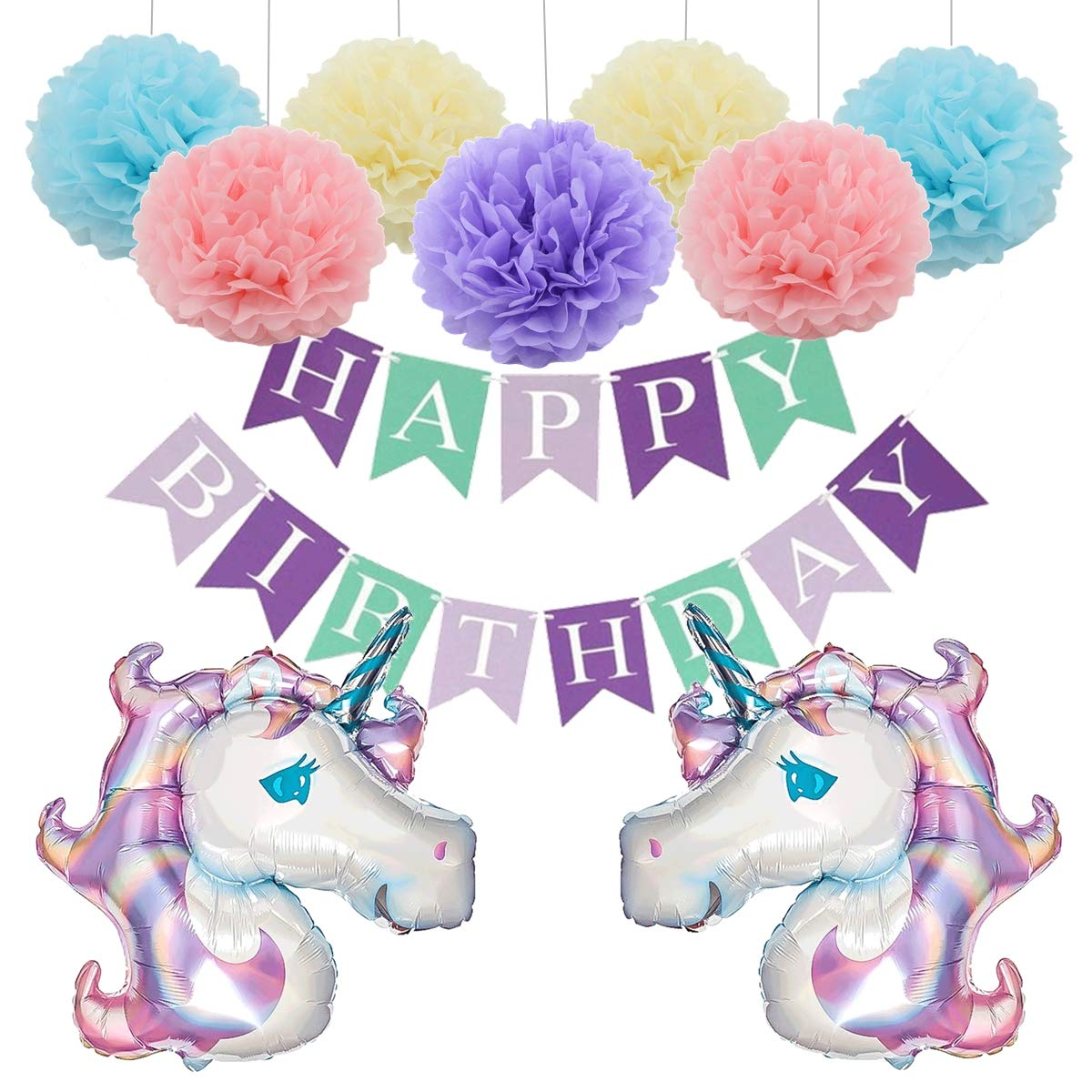 Unicorn Birthday Party Decoration Set - Tissue Paper Pom Pom, Happy Birthday Banner, Purple 42' Unicorn Foil Balloon, Party Décor Supply Kit