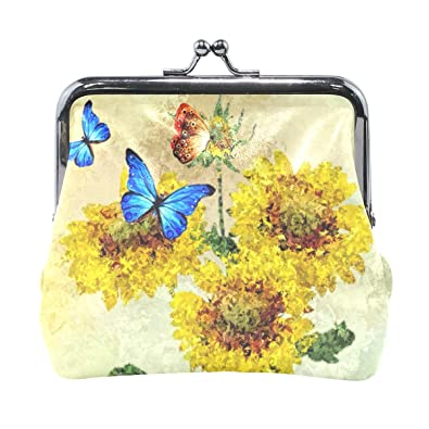 Amazon.com: Coin Purses Sunflower Insect Buckle Vintage ...