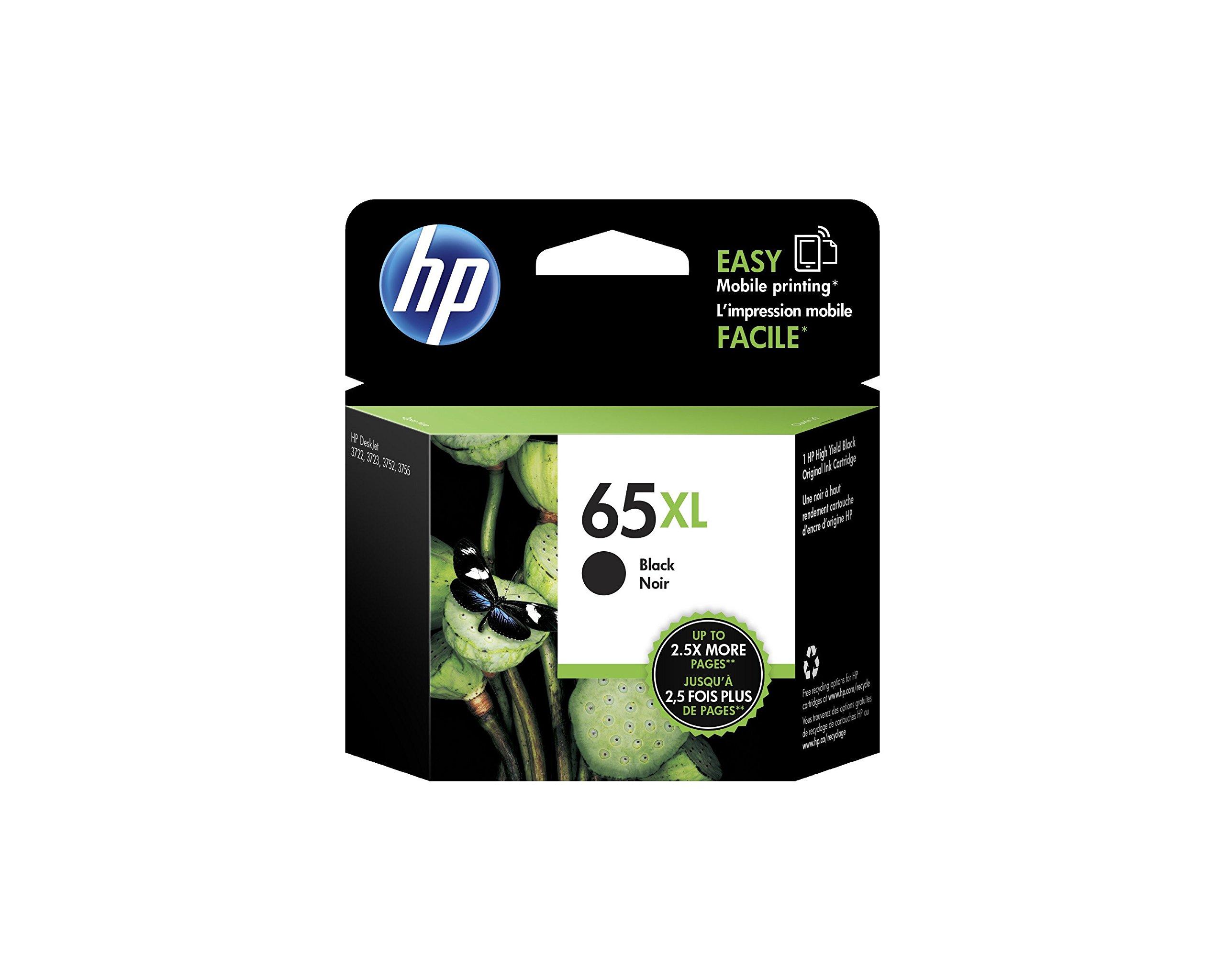 HP 65XL Black High Yield Original Ink Cartridge (N9K04AN) for HP DeskJet 2624 2652 2655 3722 3752 3755 3758