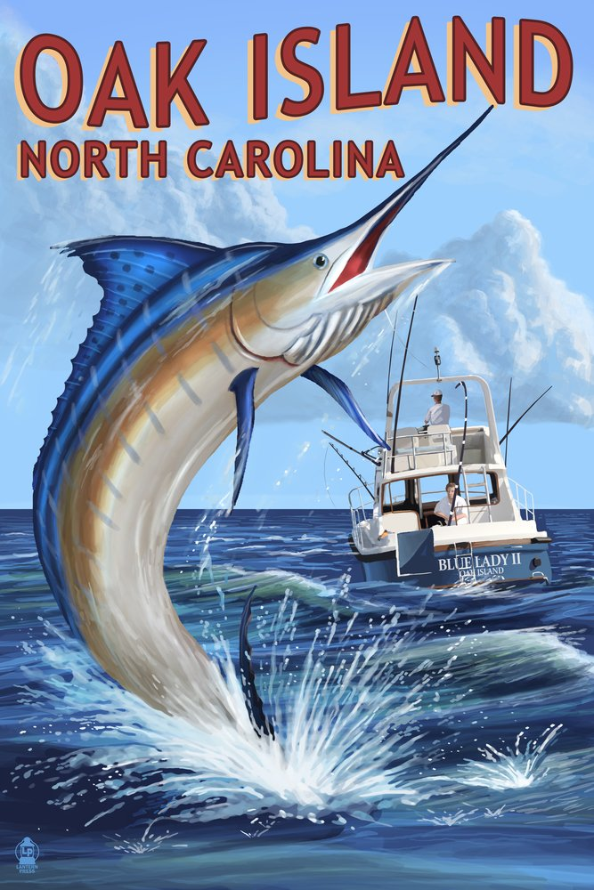 Oak Island、ノースカロライナ州 – Marlin Fishingシーン 36 x 54 Giclee Print LANT-53623-36x54 36 x 54 Giclee Print  B017E9YE3S