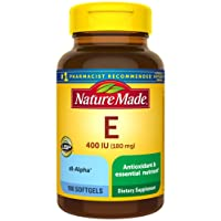 Nature Made Vitamin E 180 mg (400 IU) dl-Alpha Softgels, 180 Count for Antioxidant...