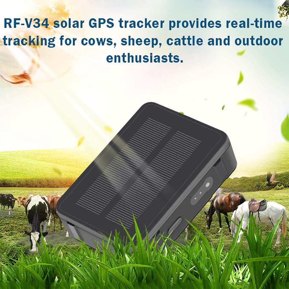Gps Rastreador para perros Gatos Buscador de mascotas a prueba de agua RF-V34 Energ/ía solar Rastreador GPS para mascotas GPS Localizador de rastreadores GPS magn/ético fuerte Para ovejas Vaca Ganado