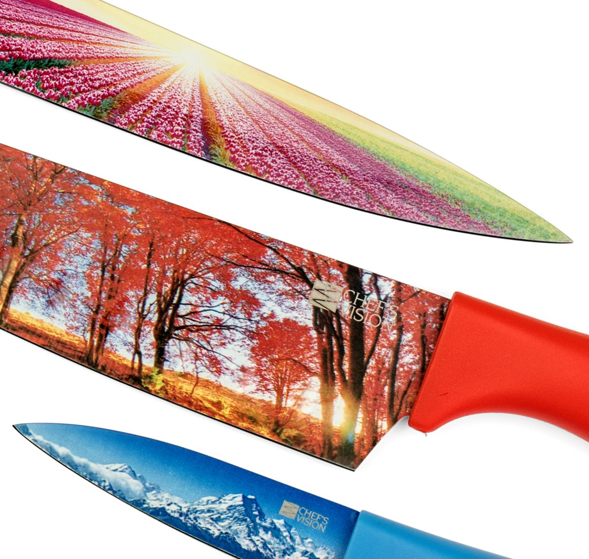 Kitchen Knife Set in Gift Box by Chef's Vision - Landscape Series - Beautiful, Unique Gifts For Her and For Him - 6 Piece Color Knife Set - Chef, Bread, Slicer, Santoku, Utility and Paring Knives by Chef's Vision (Image #3)