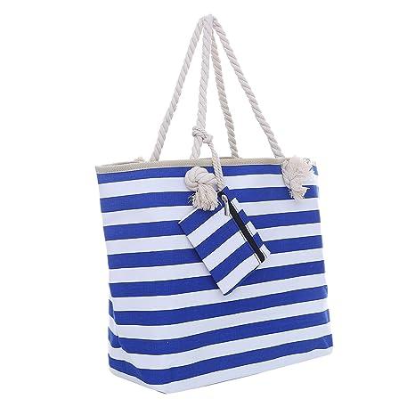 de36056331 Borsa da spiaggia grande con chiusura zip 58 x 38 x 18 cm Shopper stile  marinaro