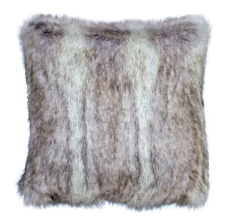 Faux Fur Pillow Cover Canadian Fox Stone 18 X 18 in - Set of 2