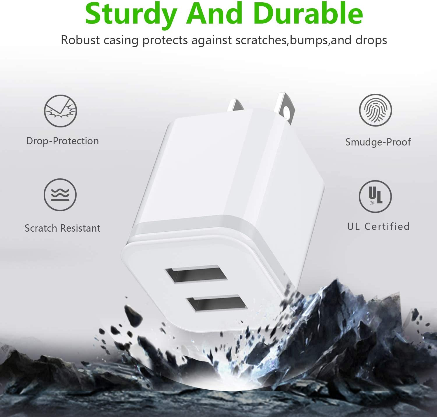 DECIPA Dual USB Wall Charger Adapter Block Cube with Charging Cord Replacement for iPhone Xs//Xs Max//XR//X 8//7//6//6S Plus SE//5S//5C Pack of 4 Pod Phone Charger 10ft Cable with Wall Plug Pad