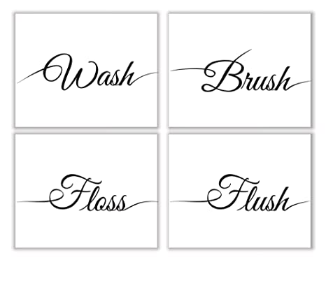 d4a76bddd4e Parth IMPEX Wash Brush Floss Flush Sign Bathroom Quotes and Saying Art  Prints (Set of