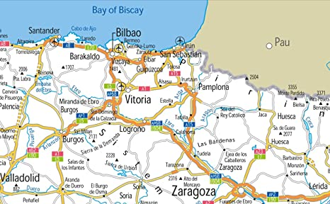 España carreteras mapa – Vinilo – A1 tamaño 59,4 x 84,1 cm: Amazon ...