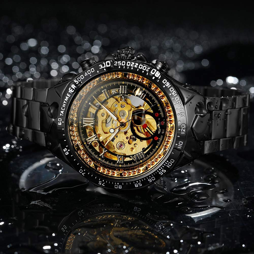 HONGXIGUAN Män guldklockor automatisk mekanisk klocka manlig armbandsur rostfritt stålband Svart med gyllene
