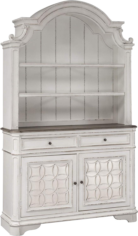 Liberty Furniture Industries Magnolia Manor Hutch & Buffet, W56 x D18 x H92, White