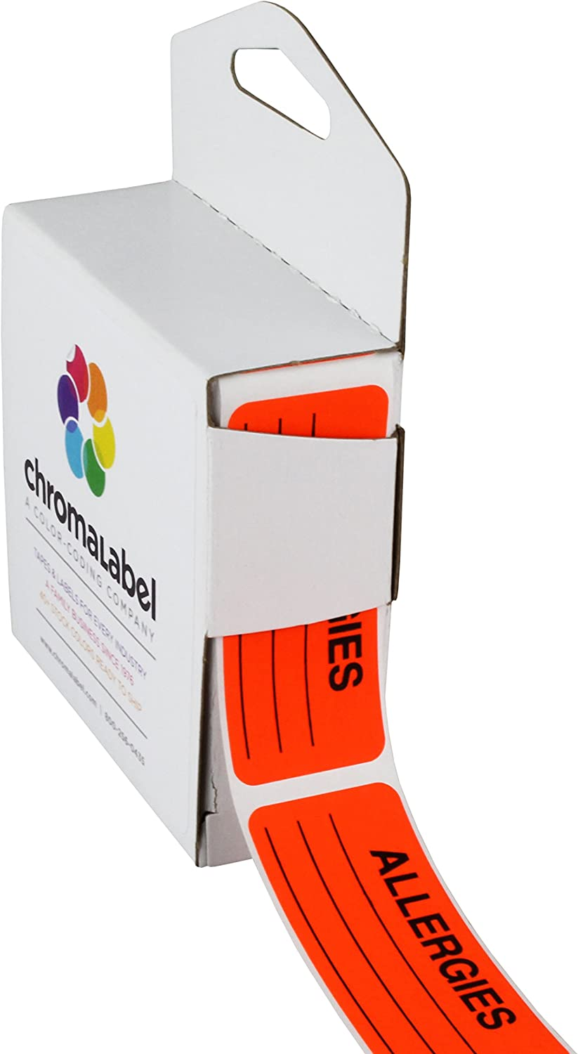 ChromaLabel 1 x 2-1/4 Inch Allergy Labels, 250/Dispenser Box, Fluorescent Red-Orange, Imprinted: